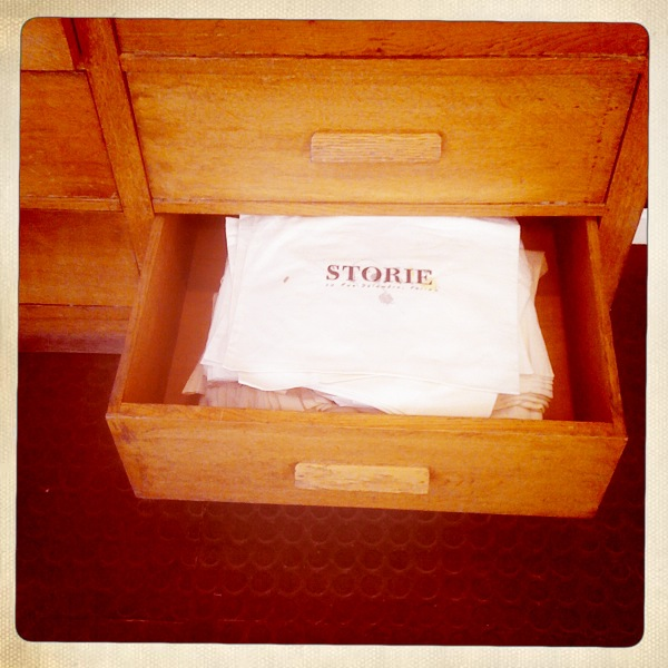 Our hand made storie bags.